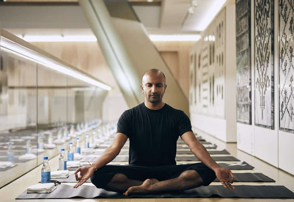 Image of me in fake meditation, by Phillip Suddick